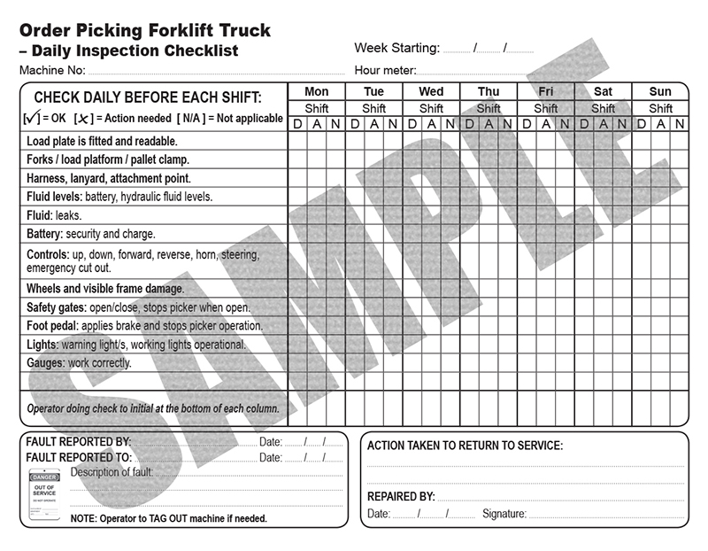 Daily Inspection Checklist For Order Picking Forklift