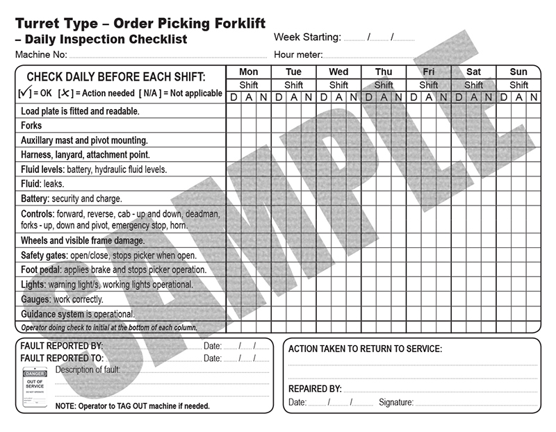 Daily Inspection Checklist For Turret Type Opf