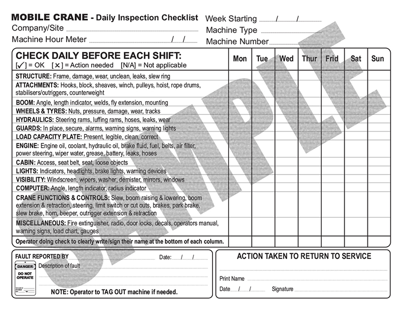 Daily Inspection Checklist For Mobile And Vehicle Loading Cranes