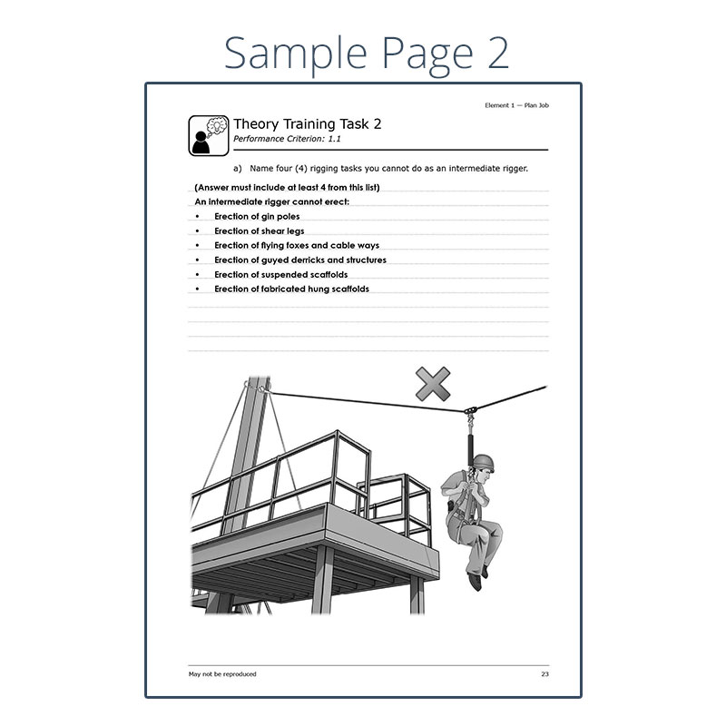 intermediate rigging trainer s marking guide rh easyguides com au Steel Cable Rigging 3D Steel Cable Rigging